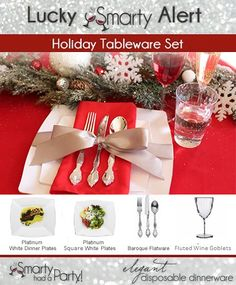 We're sending @Sure Fit Inc a FREE package of platinum square white plastic dinner and salad plates, baroque flatware value pack, and Fluted Plastic Wine Glasses! Holidays are all about giving, right? :) Please private message us on the Smarty Had A Party Facebook page your shipping address, email address, and phone number so we can get you your products in no time! Have yourself some jolly holidays! xo