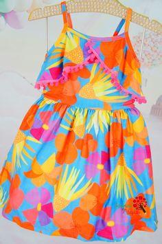 Vestido Infantil Malha Tropical Pompom Mon Sucré