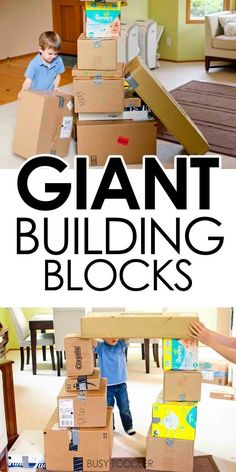 Pre K or Elementary Giant Building Blocks: Toddler STEM Activity - An easy indoor activity for toddlers making larger than life building blocks out of boxes. Indoor Activities For Toddlers, Infant Activities, Learning Activities, Preschool Activities, Toddler Gross Motor Activities, Therapy Activities, Physical Activities, Senses Preschool, Babysitting Activities
