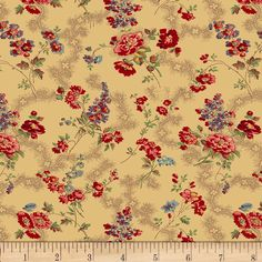 Designed by Molly B's Studio for Marcus Brothers, this reproduction cotton print fabric is perfect for quilting, apparel and home decor accents. Colors include violet, teal, red, pink and ecru.