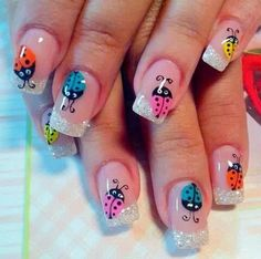 Try some of these designs and give your nails a quick makeover, gallery of unique nail art designs for any season. The best images and creative ideas for your nails. Diy Nails, Cute Nails, Pretty Nails, Manicure, Spring Nail Art, Spring Nails, Summer Nails, Ladybug Nails, Cute Summer Nail Designs