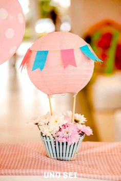 Table centerpiece Shabby Chic Hot Air Balloon Party from Kara's Party Ideas. See more at karaspartyideas.com!