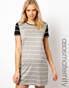 ASOS Maternity | ASOS Maternity T-Shirt Dress in Stripe with Contrast Sleeves at ASOS