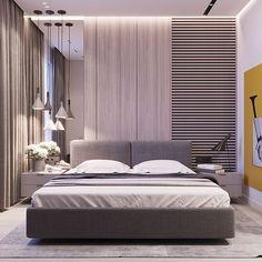 ❌ Асимметричные светильники красиво, но не делать висящих светильников в спальне
