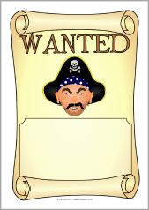 Pirate wanted poster writing frames (SB3705) - SparkleBox