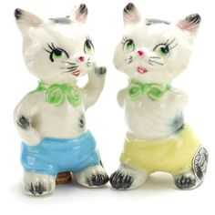 Vintage MINT Anthropomorphic Kittens Salt and Pepper Shakers, Cats,... ($36) ❤ liked on Polyvore featuring home, kitchen & dining, serveware, vintage cat salt and pepper shakers, vintage salt and pepper shakers, vintage salt pepper shakers, white serveware and cat salt and pepper shakers
