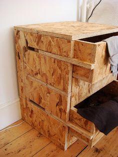 37 inspirations pour oser l'OSB – Page 2 sur 6 - Diy furniture design Plywood Furniture, Pallet Furniture, Furniture Making, Cool Furniture, Furniture Design, Furniture Ideas, Luxury Furniture, Unique Wood Furniture, Drawing Furniture