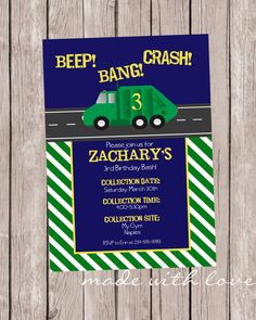Garbage truck birthday invitation free thank you card included garbagetrash truck party invitation by madewithlovejj on etsy 1299 filmwisefo