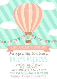 Hot Air Balloon Baby Shower Invitation by SassyGraphicsDesigns