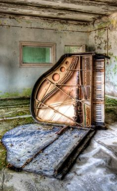 Grand Piano Left In Old Farm House