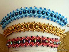 Seed Bead Beaded Bracelet swarovski Herringbone beadweaving beadwork blue, pink and gold bracelets fish bone structure. $22.00, via Etsy.