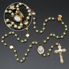 e3c50b6481fa6 Terço de Nossa Senhora de Fátima de Pérolas. Nossa Sagrada Família ...