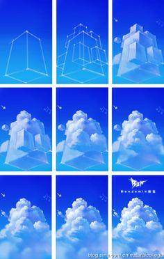 그림공부봇 on Cloud drawing tutorial / How to draw cloudsCloud drawing tutorial / How to draw clouds Digital Painting Tutorials, Digital Art Tutorial, Art Tutorials, Digital Paintings, Drawing Tutorials, Concept Art Tutorial, Drawing Tips, Drawing Process, Drawing Ideas