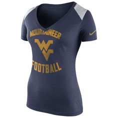 West Virginia Mountaineers Nike Women's Stadium Football T-Shirt - Navy - $30.39