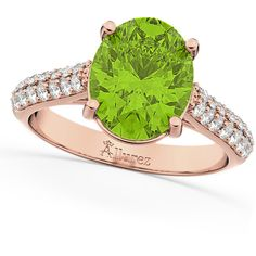 Allurez Oval Peridot & Diamond Engagement Ring 18k Rose Gold (4.42ct) ($2,970) ❤ liked on Polyvore featuring jewelry, rings, green diamond ring, pink engagement rings, pink diamond ring, engagement rings and diamond rings