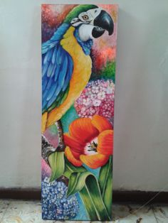 Acrylic Painting Canvas, Acrylic Art, Fabric Painting, Painting & Drawing, Watercolor Paintings, Canvas Art, Parrot Painting, Tropical Art, Wow Art