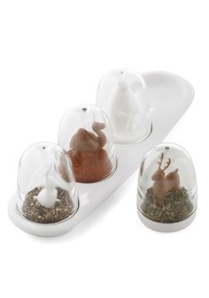 Preparing each meal is an enchanting process when you've got these snowglobe-inspired shakers by Qualy to sprinkle each dish with delight! From their Bangkok-based studio, Qualy creates preciously practical home accessories that are constructed from and packed in completely recycled materials - the ideal addition to a uniquely modern and darling decor. This set of four features a bright white rabbit and polar bear, paired with a camel and a matching brown deer, showered with a flurr...