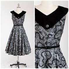 Vintage 1950s Dress  Starry Night  Black Grey by SimplyVintageCo