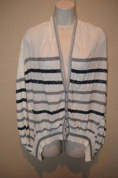 NWT $225 Sz XS Line White Gray Sequin Striped Long Sleeve Cardigan Sweater Top #Line #Cardigan