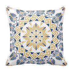 Navy and Gold Greek Key Meander Mandala Pattern Pillow