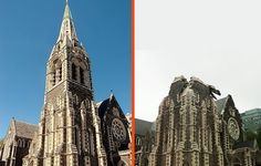 Christchurch Cathedral before and after earthquake