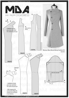 num 0104 dress o Coat Patterns, Dress Sewing Patterns, Clothing Patterns, Coat Pattern Sewing, Skirt Patterns, Blouse Patterns, Fashion Sewing, Diy Fashion, Womens Fashion