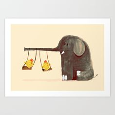 Elephant Swing Art Print