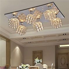 Modern Ceiling Light Stainless Steel Ceiling Lamps Creative 6 Lights In Crystal Ceiling Lamp Sitting Room Led Home Lighting Square Ceiling Lights, Crystal Ceiling Light, Chandelier Lighting Fixtures, Ceiling Light Fixtures, Ceiling Lamps, Glam Lamps, Chandelier In Living Room, Flush Mount Lighting, Led Lamp