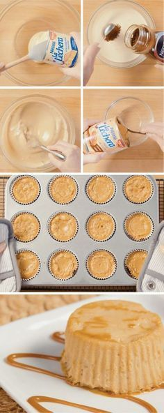 All your friends and family will be able to say is WOW when they try these Coffee Flan Cupcakes at your next family fiesta. Little do they know how easy this dessert recipe was to make thanks to La Lechera Dulce de Leche and Sweetened Condensed Milk. Köstliche Desserts, Delicious Desserts, Dessert Recipes, Yummy Food, Cake Flan, Mexican Food Recipes, Sweet Recipes, Comida Diy, Puddings