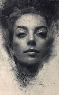 Awesome Charcoal Drawing Techniques - How to Draw with Charcoal for 2019 - Page 17 of 31 - Casey Baugh (American, b. {figurative expressionist art beautiful female grunge young woman f - Easy Charcoal Drawings, Charcoal Drawing Tutorial, Charcoal Sketch, Portrait Sketches, Portrait Art, Drawing Portraits, Amazing Drawings, Art Drawings, Landscape Drawings
