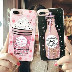 Cute Drink Bottle Ice Cream Glitter Star Dynamic Liquid Quicksand Phone Case For IPhone 6 Cases 6S 7 Plus For Iphone 7 Plus case Price: 2.93 USD #iphone6spluscase, #iphone7pluscase