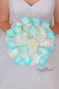 Silver and Malibu Davids Bridal Wedding Flower bouquet with bling is part of Blue wedding bouquet - Wedding Flower Guide, Diy Wedding Bouquet, Bride Bouquets, Bling Bouquet, Turquoise Wedding Bouquets, Beach Wedding Bouquets, Turquoise Wedding Flowers, Silk Flower Bouquets, Brooch Bouquets
