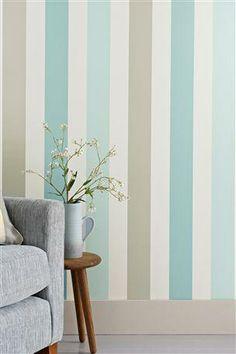 Promenade Teal Band Stripe Wallpaper