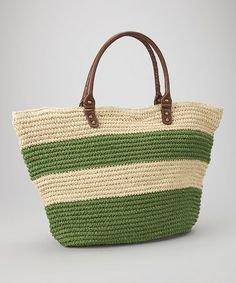 Take a look at this Green Stripe Straw Tote by Straw Studios on #zulily today!
