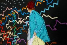 KINETIC VAGABOND. Embroidery floss on canvas by Mary Balda.