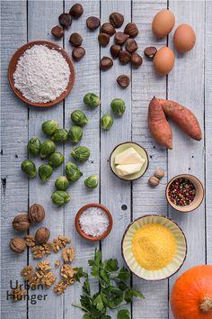 Kürbisgnocchi mit Maronen und Rosenkohl Zutaten / Pumpkin Gnocchi with Chestnuts and Brussels Sprouts ingredients - mehr zum Rezept auf http://www.urban-hunger.com/cooking-for-friends/kuerbisgnocchi-mit-maronen-und-rosenkohl/