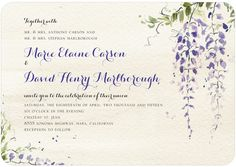 Wisteria Wonder - Signature White Textured Wedding Invitations in Velvet Rope or Sassy | Petite Alma