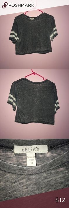 """gray cropped top """"jersey"""" cropped top Tops Crop Tops"""