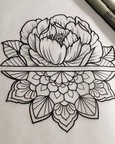 New Floral Mandala Tattoo Sleeve Patterns 62 Ideas Tatuaje Mandala Floral, Floral Mandala Tattoo, Peacock Tattoo, Hai Tattoos, Body Art Tattoos, Tattoos Pics, Henna Tattoos, Tattoos Gallery, Tatoos