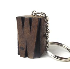 letterpress keychain vintage 1920's letter W wood stamp printers block old antique retro printing patina small mini miniature authentic aged by RecycleBuyVintage on Etsy