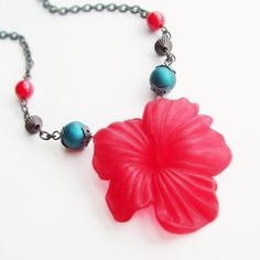 Red Flower Necklace Large Vintage Lucite Hibiscus Pendant Teal Blue Cranberry Red