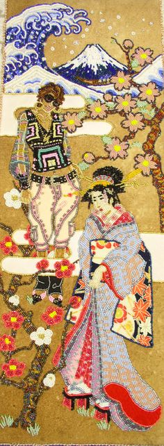 eriimamura (waves, sea spume and tree trunks) Finishing School, Teaching Colors, Tree Trunks, Japanese Beauty, Japanese Culture, Color Theory, Bead Art, Beaded Embroidery, Rebel