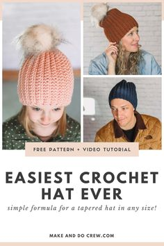If you're looking for an adult, child and baby hat crochet pattern that can be made in an hour or two with the most basic of stitches, Make Do Crew had you covered! Free beanie pattern with step-by-step video tutorial for beginners. Crochet Baby Hats Free Pattern, Crochet Adult Hat, Bag Crochet, Crochet Kids Hats, Crochet Beanie Hat, Crochet Clutch, Beanie Pattern, Crochet Crafts, Free Crochet