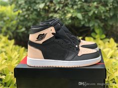 hot sale online cbad4 0fbc5 2019 Released Authentic 1 OG Crimson Tint Woman Man Basketball Shoes Black  Pink Sports Sneakers With Original Box 555088-081