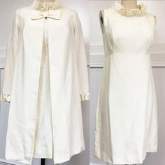 Getting SO many hits on our etsy store!   Check it out!   Elegant 1960s 2-Pc Ivory MOD Knee Length Cocktail Suit/Long Sleeved Jacket w/ Bow, Ruffled Cuffs / Sleeveless Dress Ruffled Collar (10119CL) by LipstickGirlVintage on Etsy