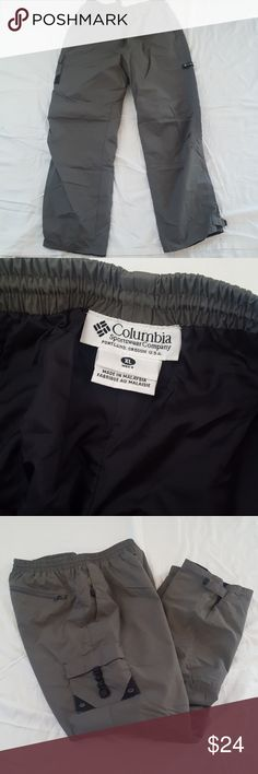 Mens Columbia windbreaker pants Brand: Columbia Color: Gray Size: XL Waist: 16 1/2 inches laying flat Inseam: 32 inches Other: waist has drawstrings inside for easy adjustment, 1 back pocket, 1 side pocket, velcro adjustments on ankles Columbia Pants Sweatpants & Joggers