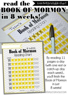 FREE PRINTABLE Book of Mormon Reading Chart - 8 Week Schedule... great for seminary, YM, YW or anyone wanting to read on a quick, easy to track schedule.  Just print and mark off the flags as you go... #mycomputerismycanvas #LDS