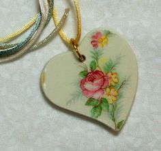 Heart Pendant Broken China Floral with Satin Cord by SisterZart