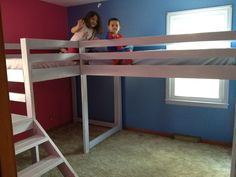 Twin loft beds with platform | Do It Yourself Home Projects from Ana White