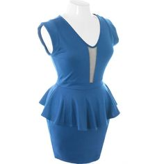 Plus Size Sweetheart Sexy Peplum Blue Dress, Plus Size Clothing, Club Wear, Dresses, Tops, Sexy Trendy Plus Size Women Clothes found on Polyvore